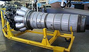 Klimov VK-1 jet engine from MiG-15bis (c-n 1B01524) side view port side.jpg