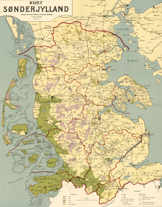 Southern Jutland - Map of Southern Jutland (1913)