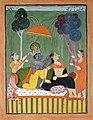 Krishna loosens Radha's hair (6125117626).jpg