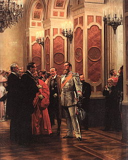 William allowed Frederick few official duties, such as attending balls and socializing with dignitaries (painting by Anton von Werner). Kronprinz Friedrich Wilhelm auf dem Hofball 1878.jpg