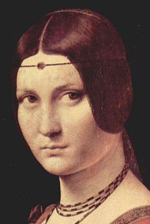 Ferronnière - Detail from La belle ferronnière, school of Leonardo da Vinci, 1490-96