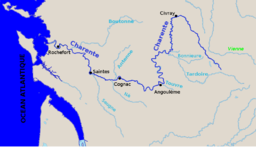 The Charente river and its tributaries