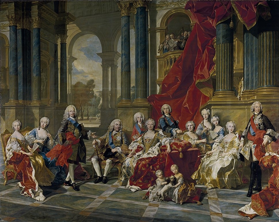 """""""The Family of Philip V of Spain 1743""""; (L-R) Mariana Victoria, Princess of Brazil; Barbara, Princess of Asturias; Ferdinand, Prince of Asturias; King Philip V; Luis, Count of Chinchón; Elisabeth Farnese; Infante Philip; Princess Louise Élisabeth of France; Infanta Maria Teresa Rafaela; Infanta Maria Antonia; Maria Amalia, Queen of Naples and Sicily; Charles, King of Naples and Sicily. The two children in the foreground are Princess Maria Isabella Anne of Naples and Sicily and Infanta Isabella Maria of Spain (daughter of the future Duke of Parma)."""