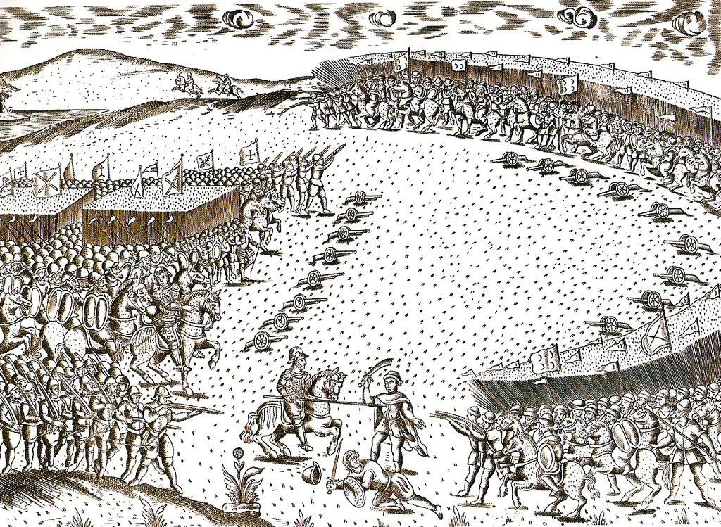 Le moment où l'armée portugaise se fait encercler par les troupes marocaines et ottomanes lors de la bataille des trois rois. Image de Georges Jansoone.