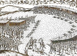 Battle of Alcácer Quibir - Battle at Ksar el Kebir, depicting the encirclement of the Portuguese army on the left
