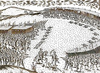 Morocco–Turkey relations - Battle at Ksar el Kebir, depicting the encirclement of the Portuguese army on the left