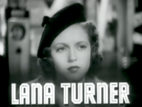 "Woman staring in distance, the words ""Lana Turner"" beneath her"