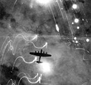 An Avro Lancaster over Hamburg.