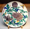 Large Dish, Imari ware, Kokutani gosai-de type, Edo period, 17th century, butterfly and peony design on overglaze enamel - Tokyo National Museum - DSC05296.JPG
