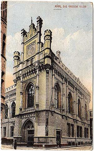 Large Guild, Riga - View of the Large Guild from a 1918 vintage picture postcard