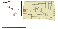 Lawrence County South Dakota Incorporated and Unincorporated areas Spearfish Highlighted.svg