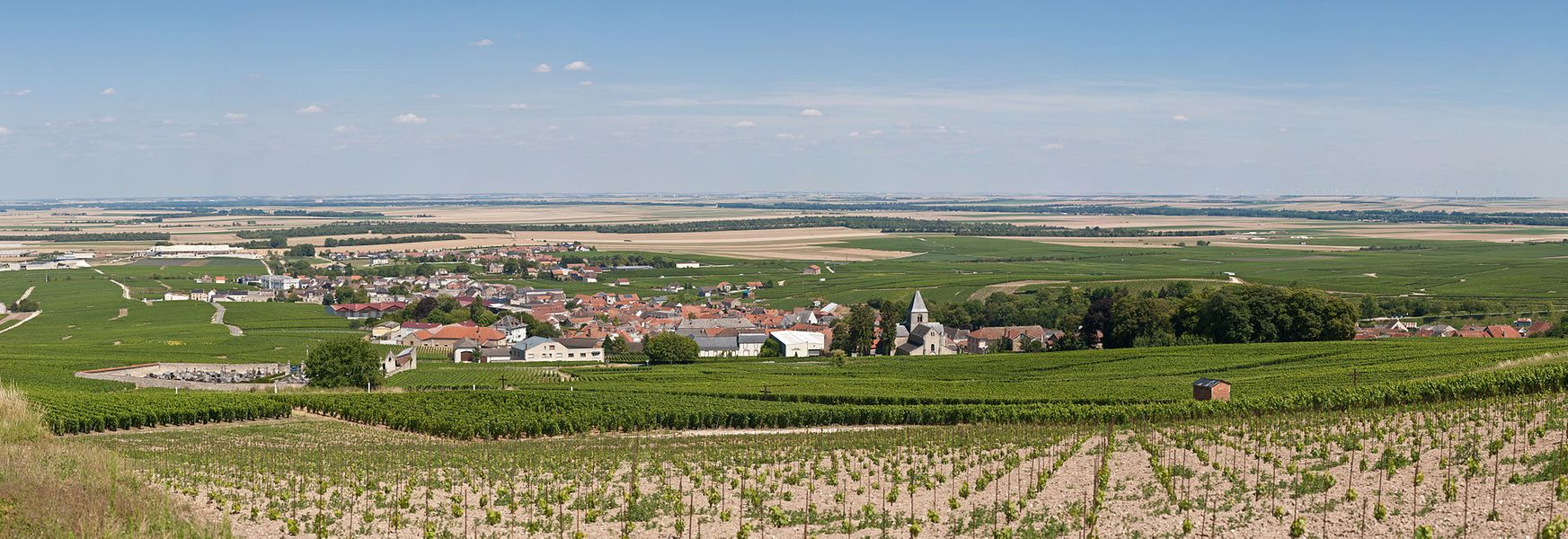 The village of Le-Mesnil-sur-Oger in Champagne, France, as viewed from the vinyards to the east.