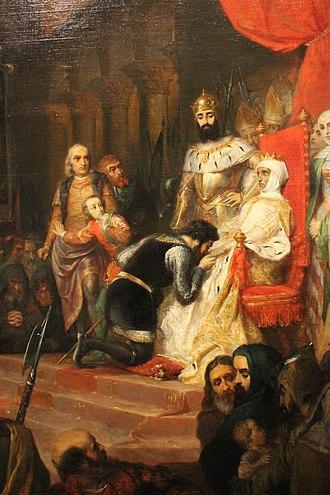 Inês de Castro - Detail of The Coronation of Inês de Castro in 1361, by Pierre-Charles Comte.