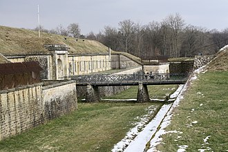 Polygonal fort - The gorge or interior of Fort d'Uxegney, showing the heavily protected accommodation casemates typical of the Séré de Rivières system.