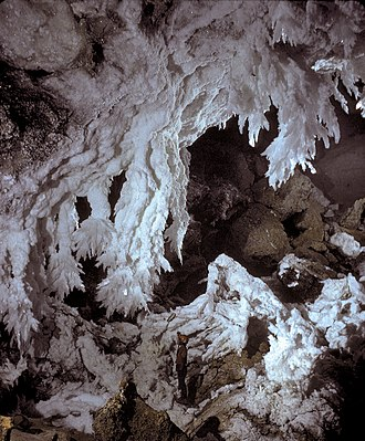Solutional cave - Gypsum stalactites in a cave formed via sulfuric acid dissolution (Lechuguilla Cave, New Mexico)