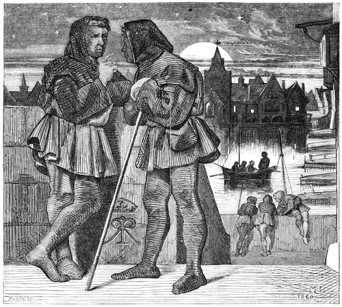 alt = In a medieval setting, two men (one of them leaning on a staff) converse at night on a bridge in a city.