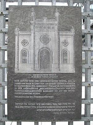 Leopoldstädter Tempel - Image: Leopoldstädter Tempel Gedenktafel, Vienna