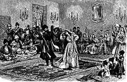 Lesginka, a national dance in Georgia (Roskoschny, 1884).JPG