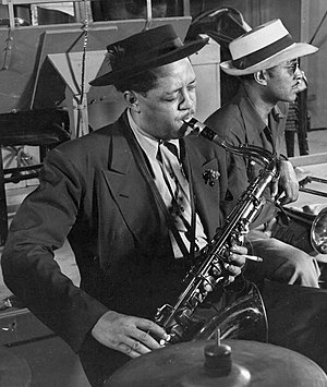 1944 in jazz - Lester Young wearing pork pie hat.