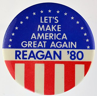 Ronald Reagan 1980 presidential campaign - A button from Reagan's 1980 presidential campaign