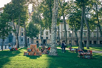 City of Literature - Library Under the Treetops in Ljubljana. Free reading, book browsing and relaxing. Photo by Matej Perko.