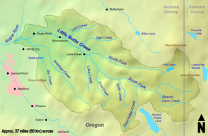 The north fork of Little Butte Creek begins at Fish Lake near Mount McLoughlin. It flows west to its confluence with the south fork, whose headwaters are near Brown Mountain. The creek flows through the towns Lake Creek, Brownsboro, Eagle Point, White City, and enters the Rogue River just west of Eagle Point. The watershed is mostly within Jackson County, with a small eastern portion in Klamath County.