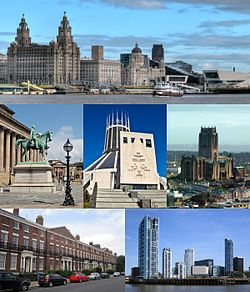 Frá ovast vinstrumegin: Pier Head og Mersey Ferry; St George's Hall og Walker Art Gallery, Liverpool Catholic Cathedral; Liverpool Anglican Cathedral; Georgian architecture í Canning; Princes Dock
