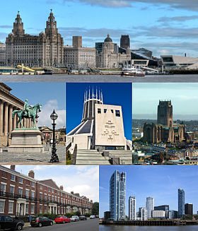 From top left: Pier Head and the Mersey Ferry; St George's Hall and the Walker Art Gallery, Liverpool Catholic Cathedral; Liverpool Anglican Cathedral; عمارة جورجية in Canning; Princes Dock