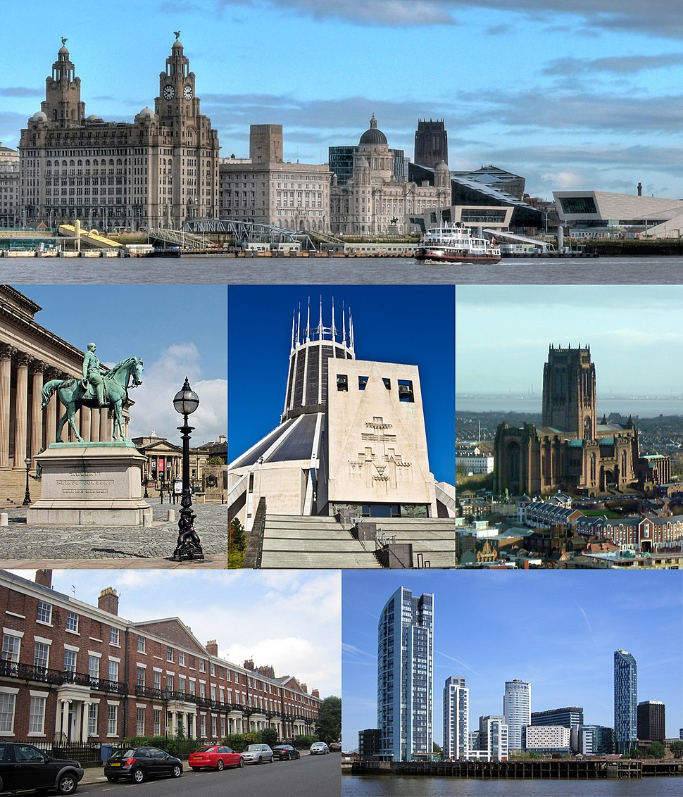 From top left: Pier Head and the Mersey Ferry; St George's Hall and the Walker Art Gallery, Liverpool Catholic Cathedral; Liverpool Anglican Cathedral; Georgian architecture in Canning; Prince's Dock