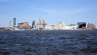 River Mersey - The River Mersey at Liverpool, looking towards the Royal Liver Building