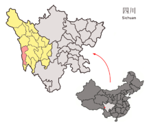 Location of Batang County (red) in the Garzê Tibetan Autonomous Prefecture (yellow) and Sichuan