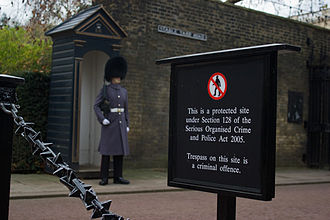 Serious Organised Crime and Police Act 2005 - The law is displayed in London, with royal guard in the background
