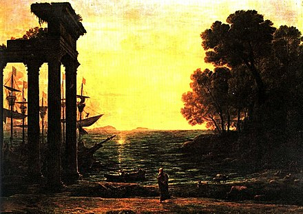 """Seascape with Ezekiel Crying on the Ruins of Tyre"" - 1667 oil painting by French Baroque artist Claude Lorrain (private collection), reflecting Western fascination since the early modern period with the crumbled metropolis Lorrain - Seascape with Ezekiel Crying on the Ruins of Tyre, 1667.jpg"
