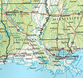 Geographische Karte Louisianas