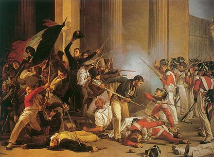 Swiss Guards during the July Revolution Louvre 1830.jpg