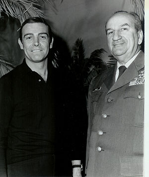 Charles Russhon - Russhon (right) with Sean Connery during production of Thunderball, 1965
