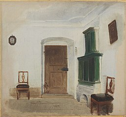 Interior with green ceramic stove