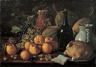 Nature morte avec pommes, raisin, melons, pain, cruche et bouteille