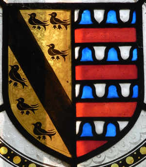 Sir Hugh Luttrell - Arms of Sir Hugh Luttrell (c.1364-1428) (Or, a bend between six martlets sable) impaling arms of Beaumont of Shirwell, Devon, (Barry of six vair and gules, here shown incorrectly as barry of eight), the family of his wife Catherine Beaumont (d.1435). Detail from 19th century Luttrell heraldic stained-glass windows, south wall of Dunster Church