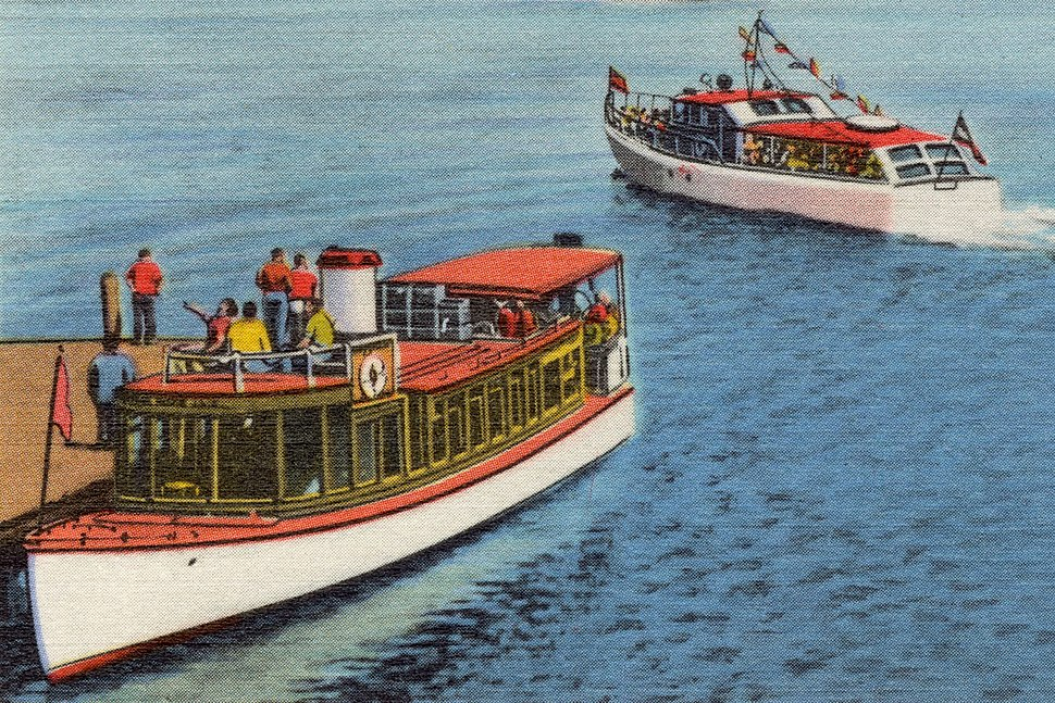 M.V. Sophie C and Mail Boat Uncle Sam on Lake Winnipesaukee, N.H (86116)