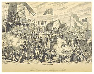 Battle of Vinegar Hill - The Camp on Vinegar Hill - an illustration (hostile to the Irish rebels) by George Cruikshank, to accompany William Maxwell's History of the Irish rebellion in 1798 (1845).