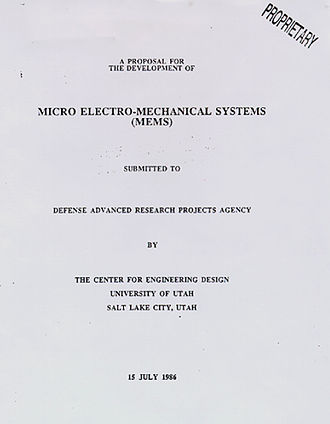 "Microelectromechanical systems - Proposal submitted to DARPA in 1986 first introducing the term ""microelectromechanical systems"""