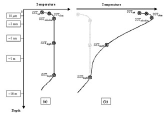 Sea surface temperature - Temperature profile of the surface layer of the ocean (a) at night and (b) during the day