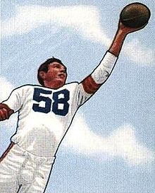 A picture of Speedie on a 1950 Bowman football card