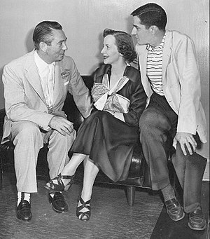 Hawkins Falls, Population 6200 - Bernadette Flynn (center) with Macdonald Carey and Frank Pacelli, the show's director, 1953.