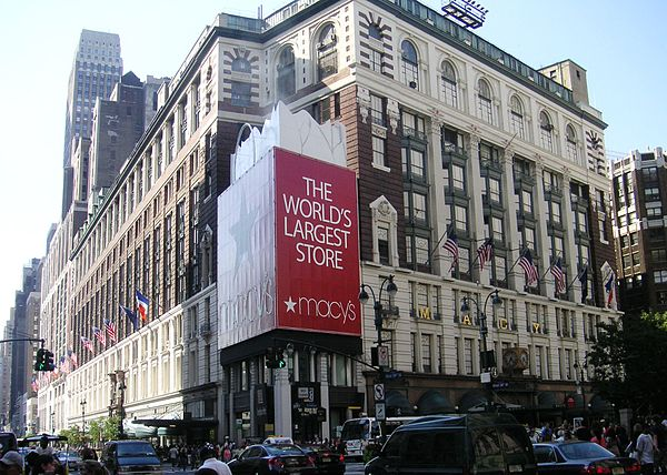 "Between 7th Avenue and Broadway is Macy's, which advertises itself as the ""world's largest department store."""