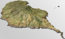 A 3D image from the east of the Island.
