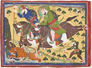 Kota State - Maharao Ram Singh II of Kota (reigned 1827-1866) Hunting with Maharao Ram Singh of Bundi (reigned 1828-1866)