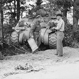 """George Philip Bradley Roberts - Major General """"Pip"""" Roberts (right) with Brigadier C. B. C. """"Roscoe"""" Harvey of 29th Armoured Brigade, Normandy, 15 August 1944."""