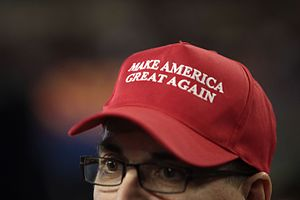 "Make America Great Again - Candidate Trump popularized the slogan ""Make America Great Again"" by printing it on a widely distributed hat."
